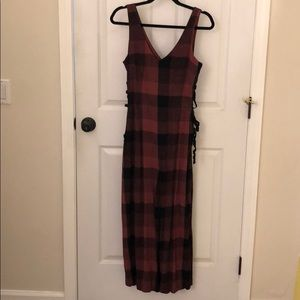 Anthropologie red plaid jumpsuit, 6, NWT
